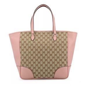 GUCCI Beige Canvas Pink Leather Trim Bree Tote Bag